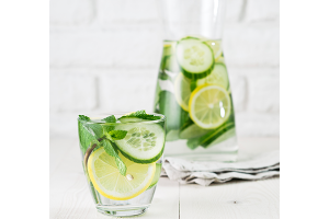 Cucumber and lemon-infused water