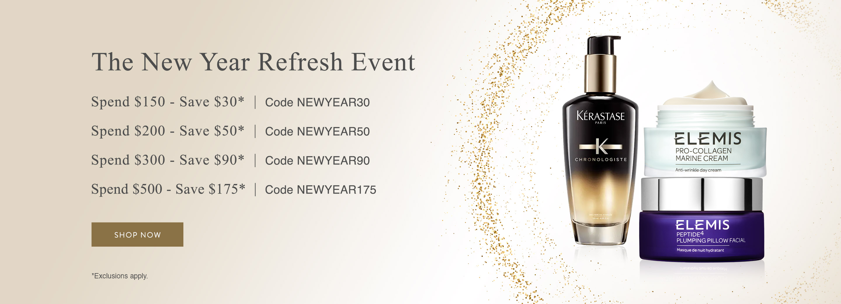 Spend $150, Save $30. Use code NEWYEAR30